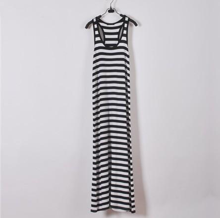61590039f9 Sexy Tight Long White Black Striped Kim Kardashian Maxi Dress