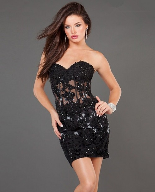 Tight Sheer Short/Mini Black Lace Party Cocktail Dress With Corset