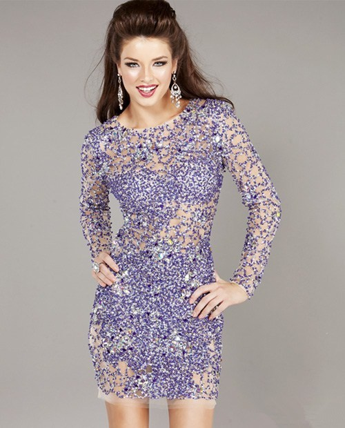 570c61616a Sexy Tight Sheer Short/Mini Lavender Beaded Party Cocktail Dress With Long  Sleeves