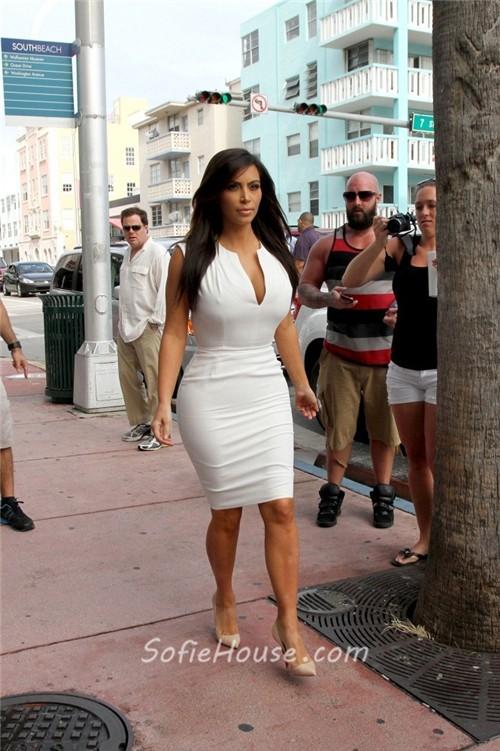 Sexy Tight Short White Stretch Jersey Kim Kardashian