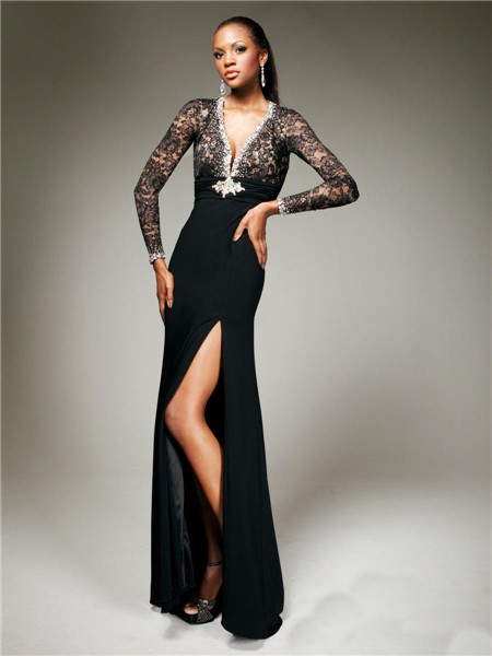 5e10bb135237 Sexy Tight V Neck Backless Long Black Chiffon Lace Evening Prom Dress With  Long Sleeve
