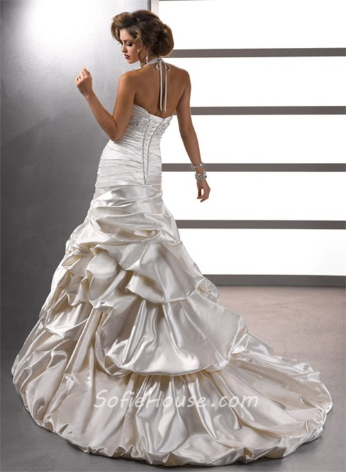 Sexy trumpet mermaid halter ivory satin beaded wedding for Pick up skirt wedding dresses