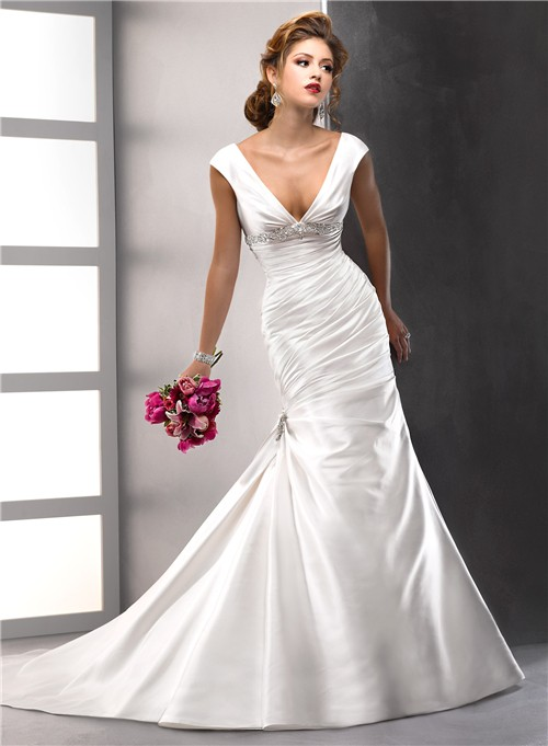 2dacd9a21adf6 Sexy Trumpet  Mermaid V neck Satin Wedding Dress With low back Swarovski  Crystals