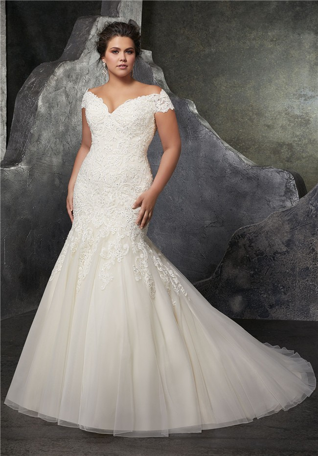 Sexy Trumpet Off The Shoulder Tulle Lace Beaded Plus Size