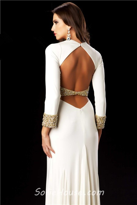 sexy v neck backless long black chiffon beaded sleeve prom