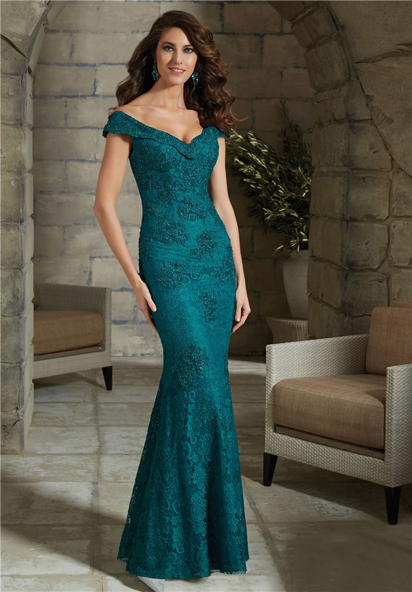 Sexy v neck cap sleeve teal lace mother of the bride for Mama s fish house dress code