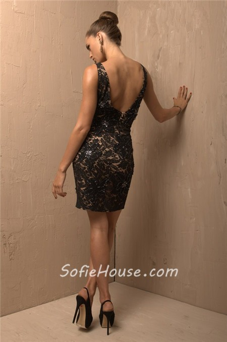 Sexy V Neck Column Short/ Mini Black Lace Beaded Cocktail Evening ...