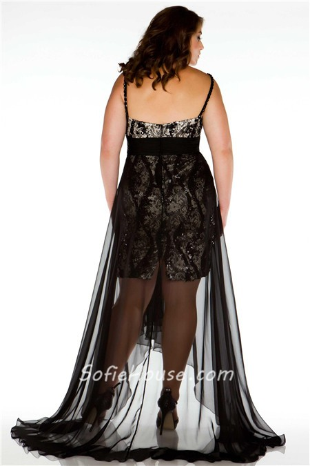 Sexy V Neck High Low Black Lace Sequins Chiffon Plus Size Prom Dress 3eb6cf7a7