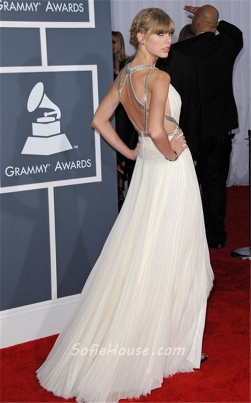 Sexy v neck long silver sequins white chiffon taylor swift red carpet celebrity dress - Silver red carpet dresses ...