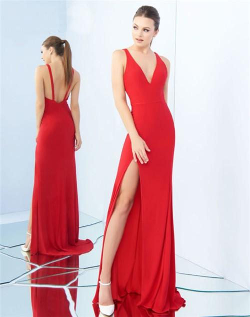 Sexy V Neck Low Back Side Slit Red Jersey Evening Prom ...