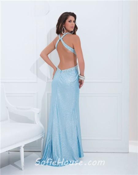 Blue Open Back Prom Dresses