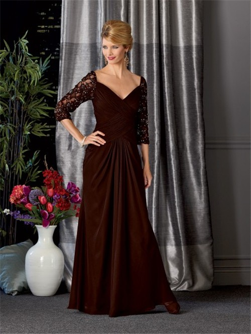 V neck long brown chiffon vintage mother of the bride dress with ...