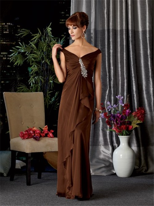 Sexy V Neck Off The Shoulder Long Brown Chiffon Mother Of