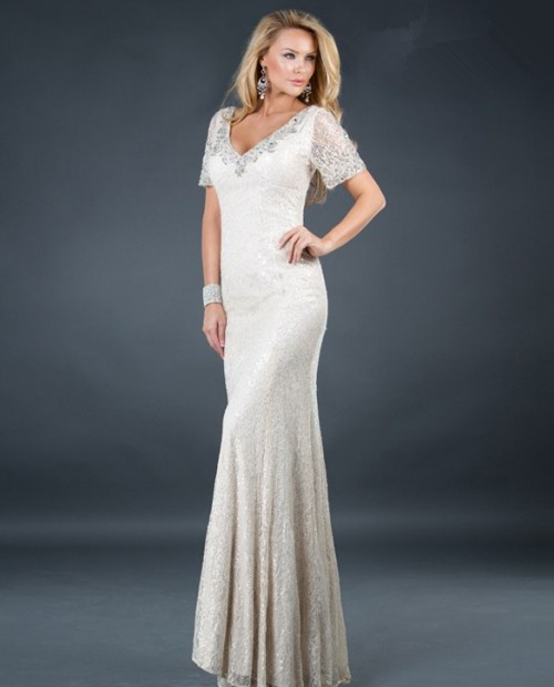 mermaid v neck long white beading lace evening dress with sleeve