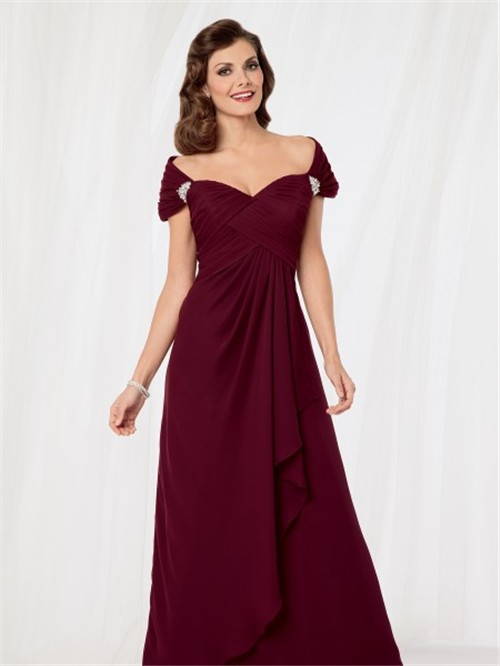 bbca4bc93 Sexy off shoulder floor length burgundy chiffon mother of the bride dress
