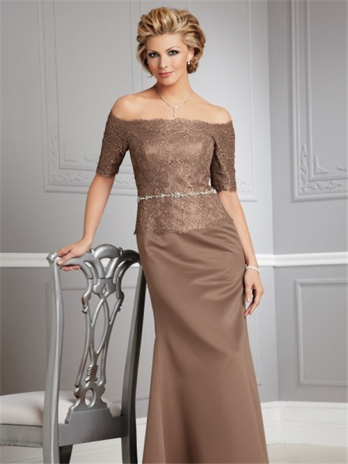 off the shoulder floor length brown lace mother of the bride dress