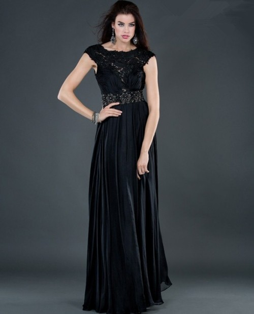 sheath backless long black beading chiffon evening dress with lace