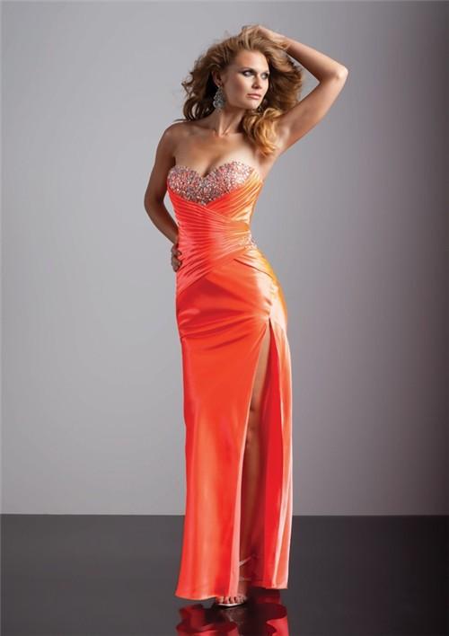 Sexy Sheath Sweetheart Long Orange Silk Prom Dress With