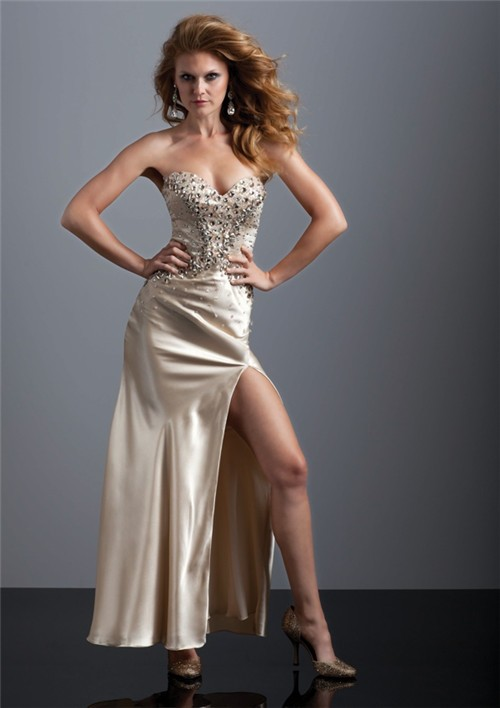 Home 187 sexy sweetheart long champagne silk prom dress with beading