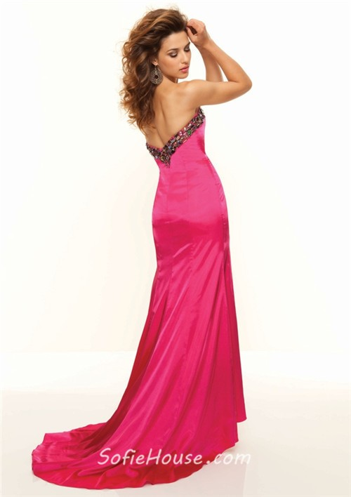 Sexy Sweetheart Long Red Beaded Silk Prom Dress With Slit