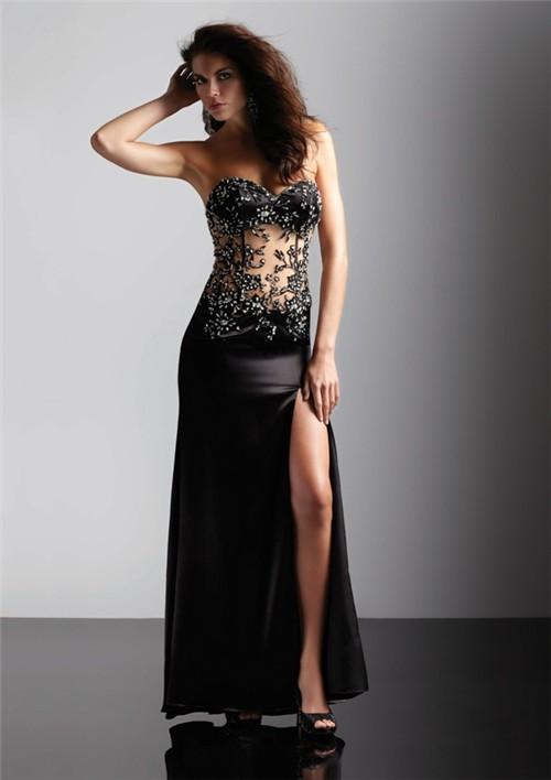 Long Black Dress with Slit