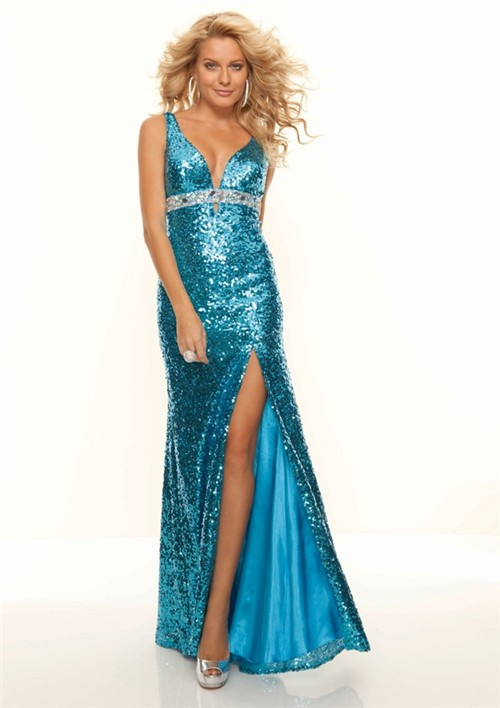 Sexy V Neck Empire Long Blue Sequined Prom Dress With Slit