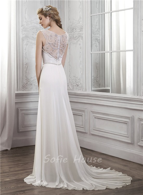 Sheath bateau neck sheer back chiffon tulle pearl beaded for Chiffon tulle wedding dress