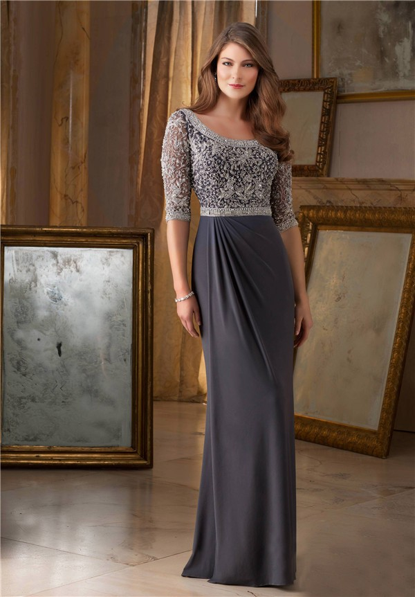 Bateau Neckline Long Grey Chiffon Beaded Occasion Evening Dress ...