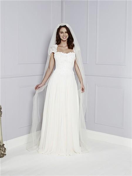 Sheath cap sleeve keyhole open back chiffon lace for Cap sleeve open back wedding dress