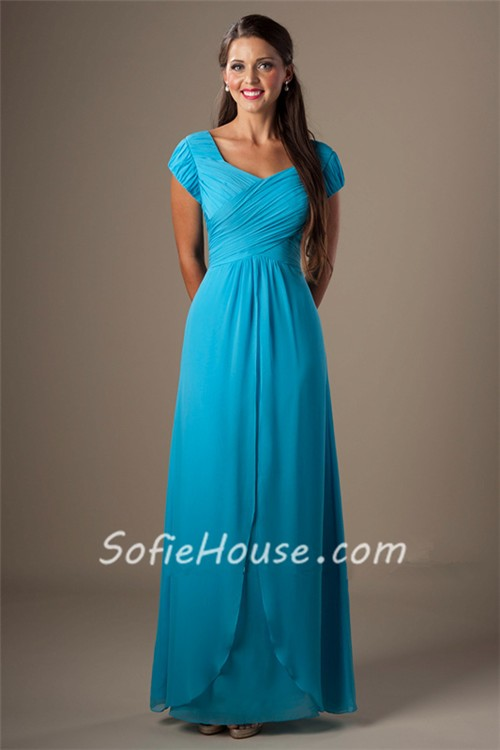 Sheath Cap Sleeves Turquoise Chiffon Ruched Long Modest