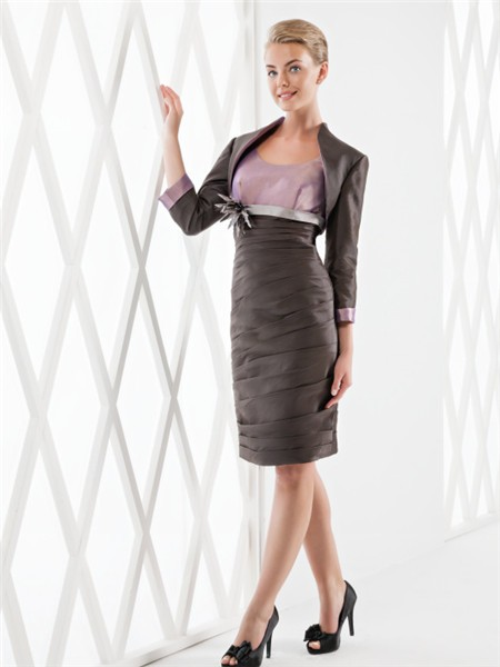 Sheath Column Scoop Neckline Two Tone Taffeta Ruched Short