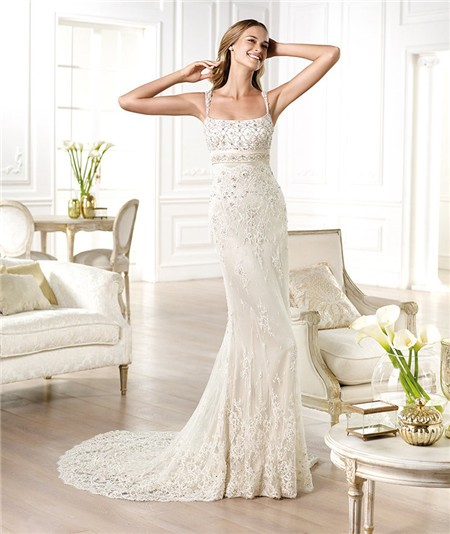 Column Square Neck Open Back Beaded Lace Wedding Dress With Straps ...