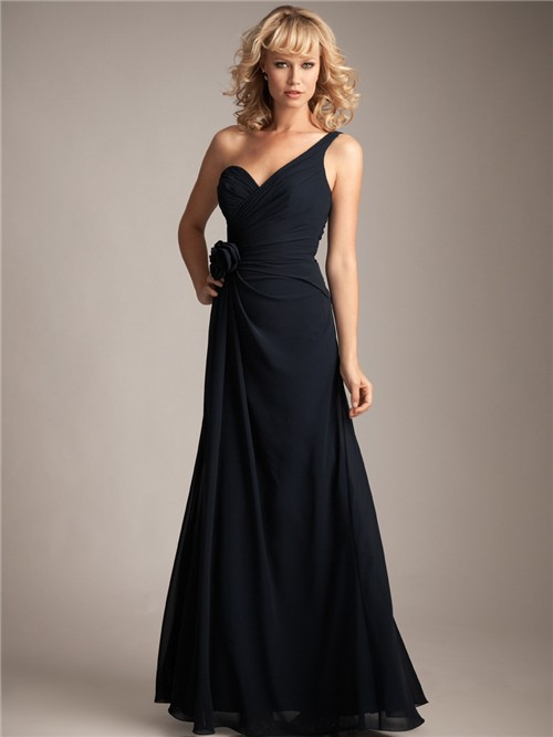 Column asymmetrical one shoulder long navy blue chiffon bridesmaid ...