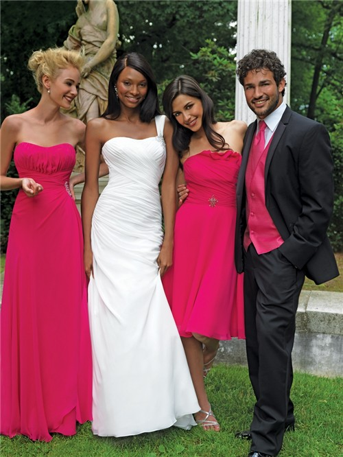 Sheath Column Sweetheart Floor Length Long Fuchsia Chiffon Bridesmaid Dress