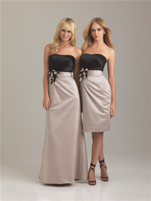 Sheath/Column sweetheart long two color silk bridesmaid dress