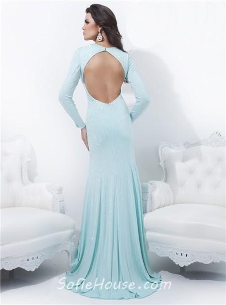 Sheath Deep V Neck Backless Long Sleeve Baby Blue Chiffon Beading Prom ...