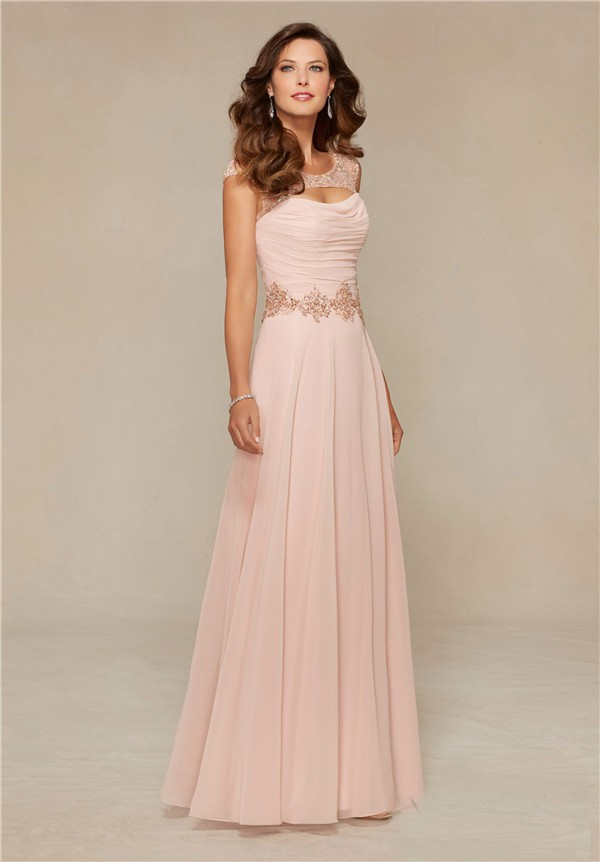 Sheath Front Cut Out Long Blush Pink Chiffon Beaded Mother Of The ...