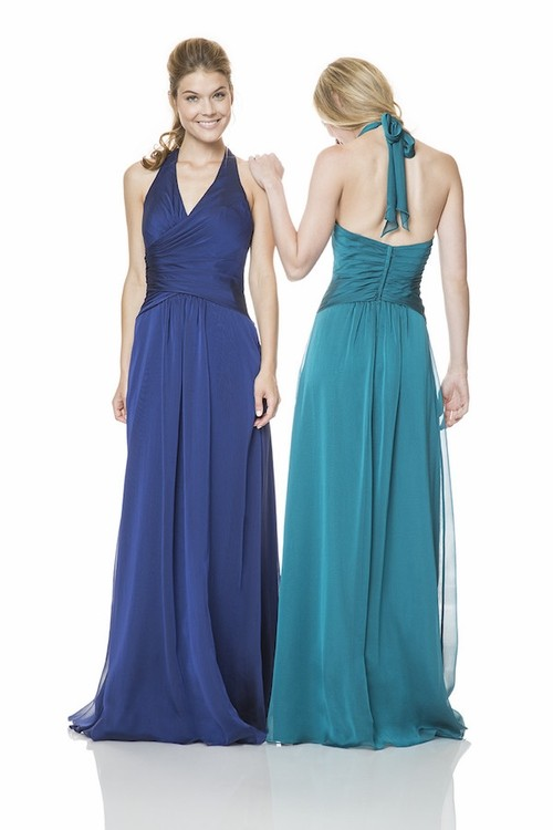 Sheath Halter Open Back Long Royal Blue Chiffon Wedding Guest ...