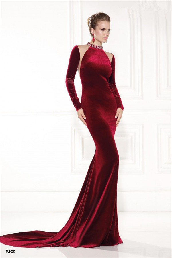 sheath high neck burgundy velvet long sleeve winter
