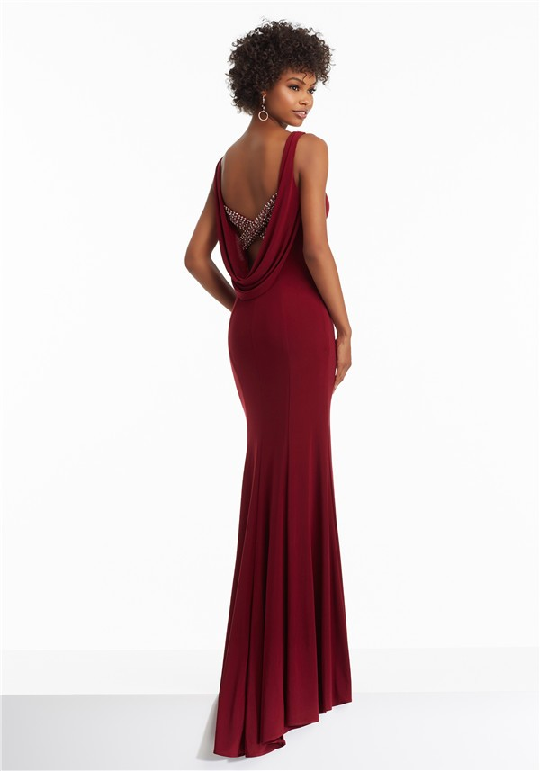 Red maxi dress with cowl back gown