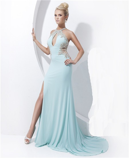 Blue sheer prom dress - Prom dresses