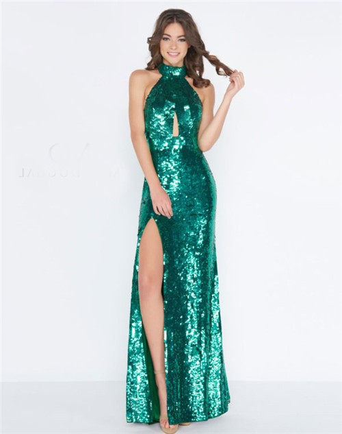 Sheath High Neck Halter Front Keyhole Emerald Green Sequin Evening ...