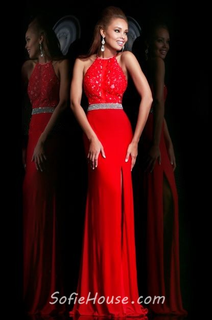 Red High Neck Prom Dress with Slit