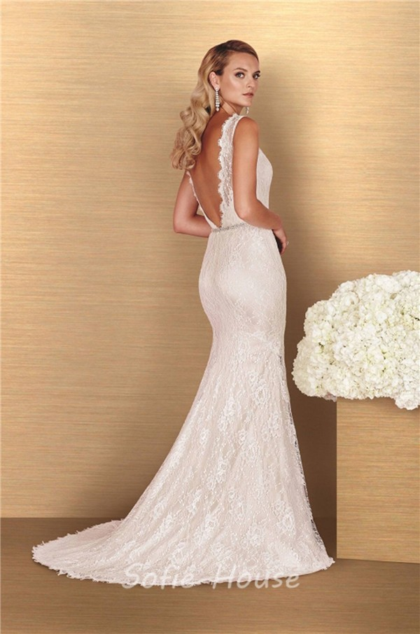 Sheath High Neck Low Back Vintage Lace Wedding Dress Sweep Train