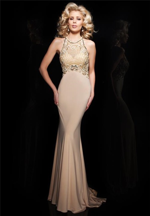 Sheath High Neck Sheer Back Sleeveless Champagne Chiffon