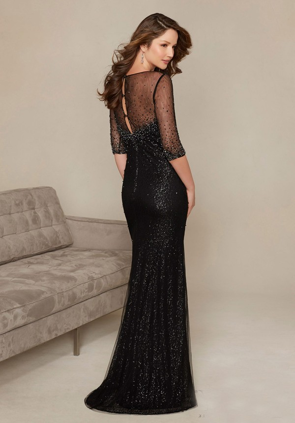 Sheath Illusion Neckline Champagne Sequin Tulle Pearl