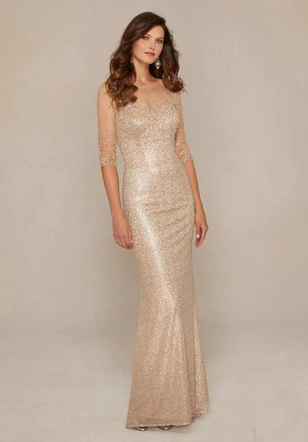 Illusion Neckline Champagne Sequin Tulle Pearl Beaded Evening ...