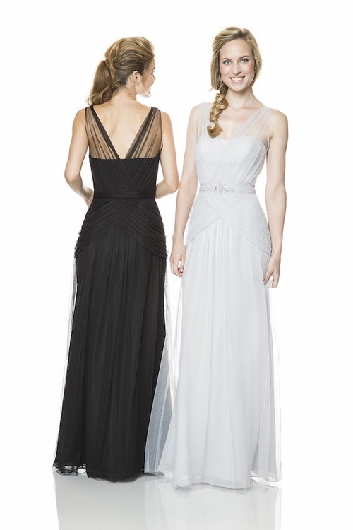 Sheath Long White Chiffon Ruched Occasion Bridesmaid Dress With Sheer Straps Belt