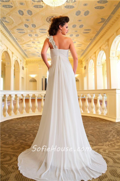Sheath One Shoulder Chiffon Garden Maternity Wedding Dress Empire Waist