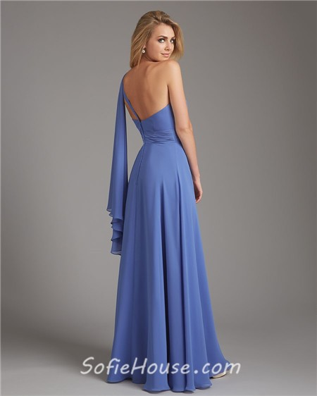 One Shoulder Long Blue Chiffon Ruched Wedding Guest Bridesmaid Dress